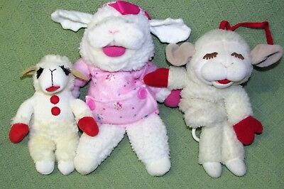 Lot of 3 LAMB CHOP Plush BABY TOY Musical Pull Hand Puppet & AURORA Stuffed Toys