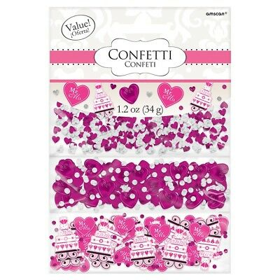 Pink Hearts & Cake   Mr & Mrs Wedding   Party Table Confetti   Decoration 1-5pk