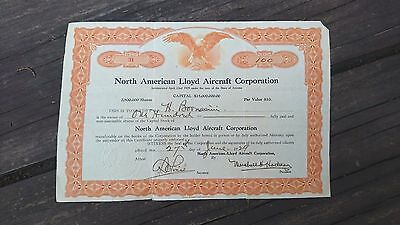 Rare 1929 North American Lloyd Aircraft Corporation Usa Share Certificate