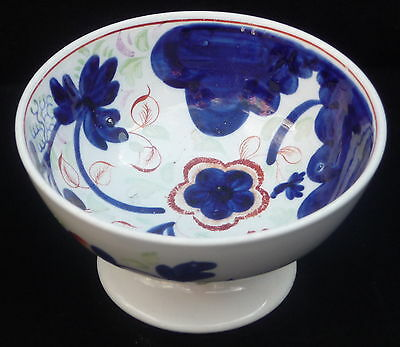 small antique ceramic hand painted Gaudy Welsh bowl on stand collectable display