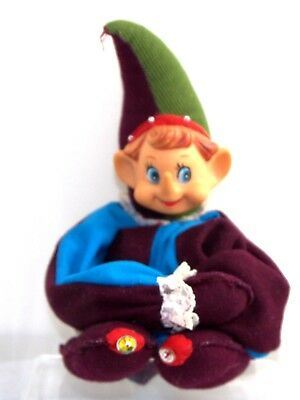 "Vtg Xmas Wired Knee Hugger Pixie Elf Ornament Hand Made Mythical Doll 19"" Tall"