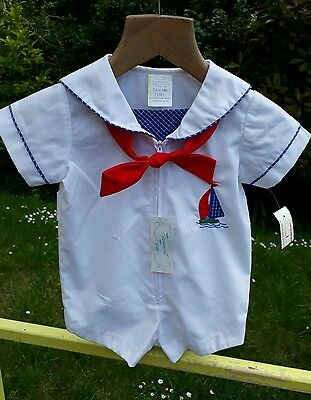 Vintage baby romper Sailor Suit 3-6mths Saks 5th Ave Nautical Christening Romany