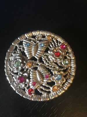 RARE Round Belt Buckle with Butterflys Flowers Colored Stones Integrated Loop