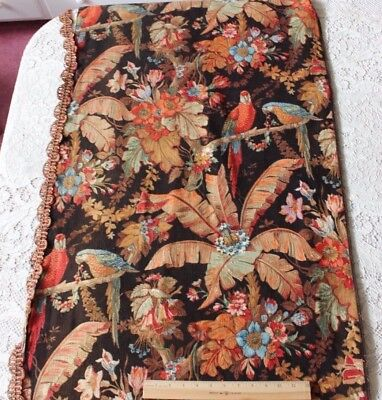 Magnificent Napoleon III Printed Exotic Parrot & Rich Foliage Fabric Panel c1850