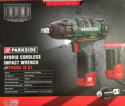 Parkside Hybrid Cordless Impact Wrench Phssa 12 A1 4 Sockets Worldwide🚚🇬🇧