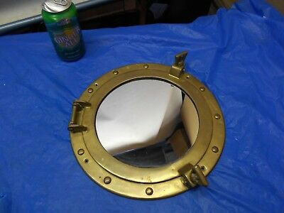 """VINTAGE-  SOLID BRASS - 11 1/4"""" PORTHOLE MIRROR -   By Price Co."""