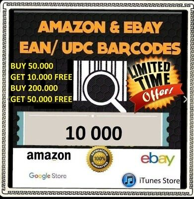 10000 UPC codes Barcode EAN UPC Amazon Numbers SEND VIA EMAIL ONLY (10000)