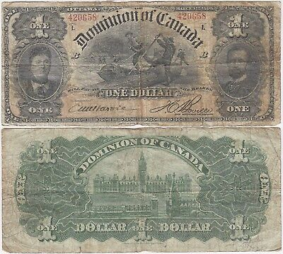 1898 Dominion Of Canada $1 Note Outward 1 Boville L DC-13c Pick 24Ab Very Good