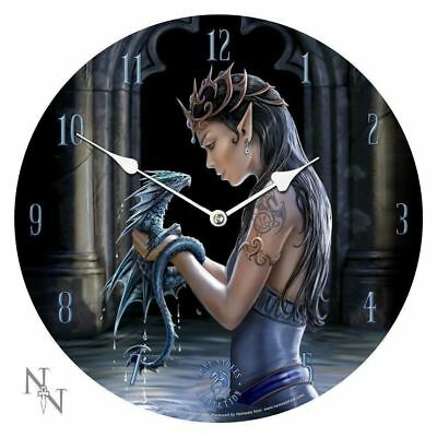 Anne Stokes Water Dragon Bedroom Wall Clock Round Gothic Medieval Now9955