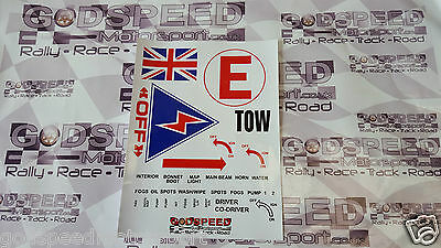 PreCut MSA Scrutineer Safety Sticker Decal Sheet Race Rally Track Day Union Jack
