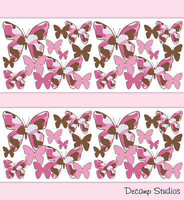 Pink Camo Butterfly Wallpaper Border Wall Art Decals Girl Camouflage Stickers