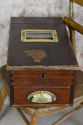 Vintage Cash Register Antique Wooden Till Drawer Bell Decorative