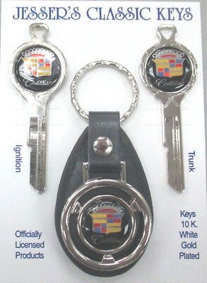 Black Cadillac Crest Classic White Gold Deluxe A/B Keys Set 1968 1972 1976 1980