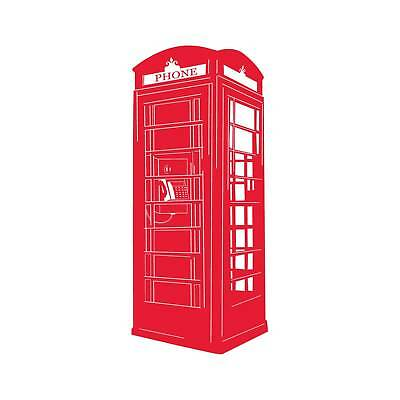 English Phone Booth Wall Decal - Red
