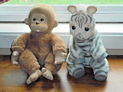 Ed Kaplan Zoo Borns Baby Monkey Zebra Plush Animals Collectible Vintage Toys
