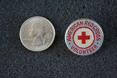 American Red Cross Volunteer Vintage Cloth Embroidered Pin Pinback Button #22423