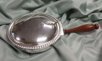 Vintage Art S Co. Silverplate Silent Butler Crumb Catcher Ash Tray Wood Handle