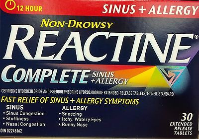5 Packs REACTINE Complete Sinus + Allergy Non Drowsy 12 Hours 30 Tablet
