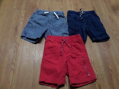 3 pairs toddler boys baby gap pull on shorts-size 2 years blues& red