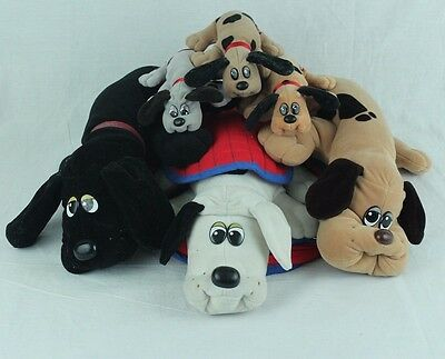 Pound Puppies Plush 3 Large 3 Small + Carry Bag 1980's