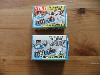 Vintage Merit - OO HO Gauge Station Accessories x2 - Empty Matchbox Style Boxes