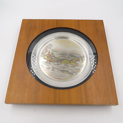 """The Danbury Mint Currier & Ives 1972 Sterling Silver """"The Road, - Winter"""" Plate"""