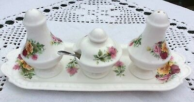 Pretty Floral China Four Piece Cruet Set