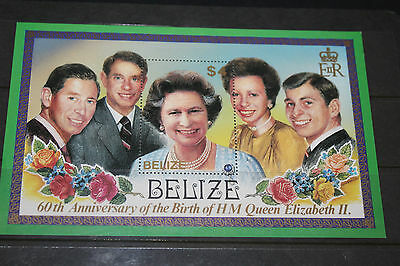 Belize 1986 Queen Elizabeths 60Th Birthday Minature Sheet Very Fine M/n/h