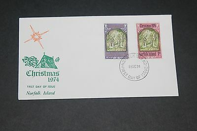 Norfolk Island 1974 Christmas Set Of 2 First Day Cover