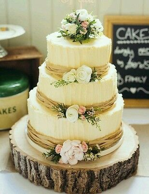 """Rustic oak wood wedding cake stand  board (can be personalised )14 - 16 """" x 2"""""""