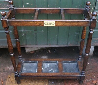 Old Good Quality Looking Walking Stick Stand With 3 Metaltrays In Base