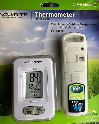 Newest-AcuRite **Wireless sensor** Indoor/Outdoor c Thermometer with Clock