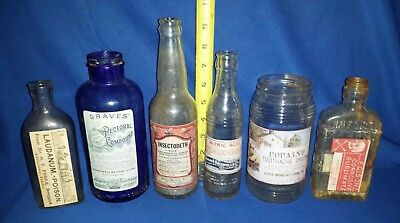 Rare Lot of 6 Vintage POISON Bottles-Nitric Acid-Insectodeth-Cocaine-Opium-READ