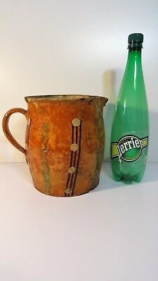 Ancien Pot Pichet terre vernissée poterie de Savoie art pop Pitcher jug