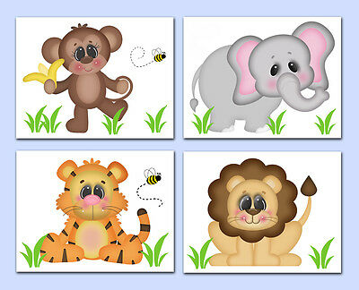 Safari Animal Baby Nursery Prints Boy Wall Art Jungle Monkey Elephant Tiger Lion