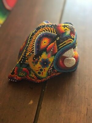 EXCEPTIONAL Huichol Indian Carved Beaded Jaguar THE BEST Signed R. Carrillo 495