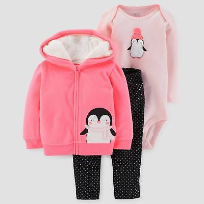 Baby Girls' 3pc Penguin Hooded Fleece Set - Just One You™ Made by Carter...