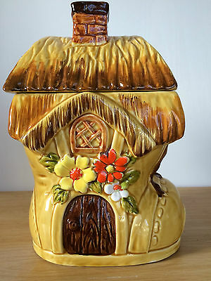 Cookie Jar Old Boot House Flowers Hay Roof Ceramic Brown