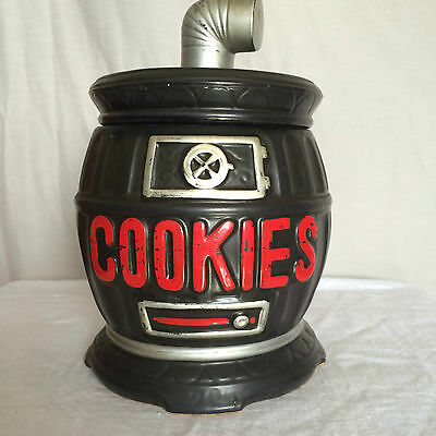 Cookie Jar Pot Belly Stove Brown Red Lettering Ceramic