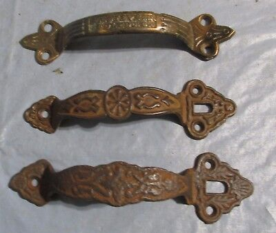 3 Antique Original Ornate Door, Barn, Shed Cast Iron Pull Handle + Brass Handle