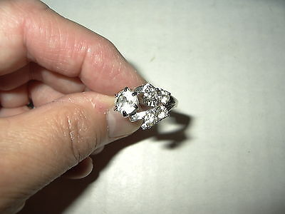 Vintage Signed 18KT H.G.E. Silvertone & Clear Rhinestones Ring - Size 6