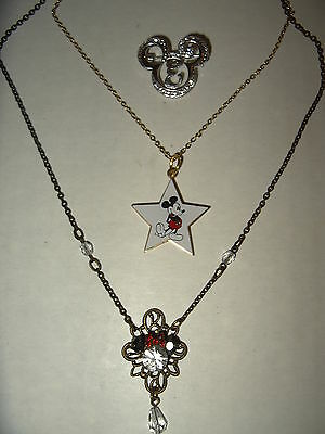 3 Vintage Signed Disney Minnie Mouse Necklace-Mickey Mouse Star Necklace & Pin