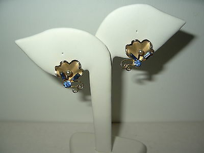 Vintage BOND BOYD Sterling Gold Vermeil Blue Crystal & Pearl Flower Earrings