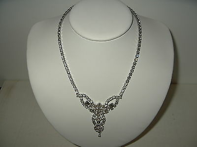 Vintage Art Deco Signed BELLE Silvertone & Clear Rhinestone Necklace