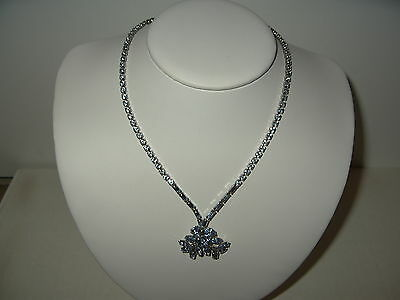 Vintage Signed BUYER BROS Silvertone & Blue Rhinestone Drop Adjustable Necklace