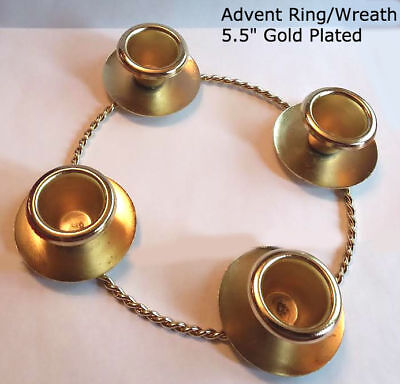 "5.5"" Advent Ring / Wreath, Rope Look, Gold-Plated, (Candles Sold Separately)"