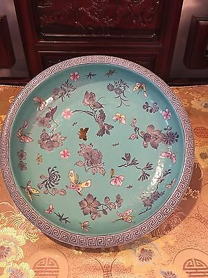 Chinese Antique Qing Dynasty Green Plate With Butterfly With Legs Colourful