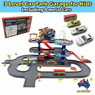 3-level Kids Toy Car Park Parking Garage Set Traffic Road Sign Metal Cars & Bus