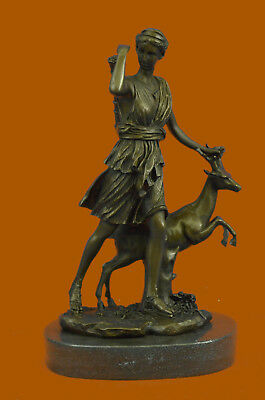 "Rare Sculpture Large Vintage French ""Le Faguays""Goddess DIANA Gift Bronze Statue"