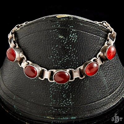 Antique Vintage Art Deco Sterling Silver Russian Signed Red Onyx Tennis Bracelet